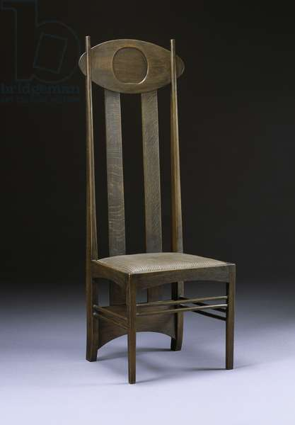 Rare and important high-back chair, c.1898-99 (oak)