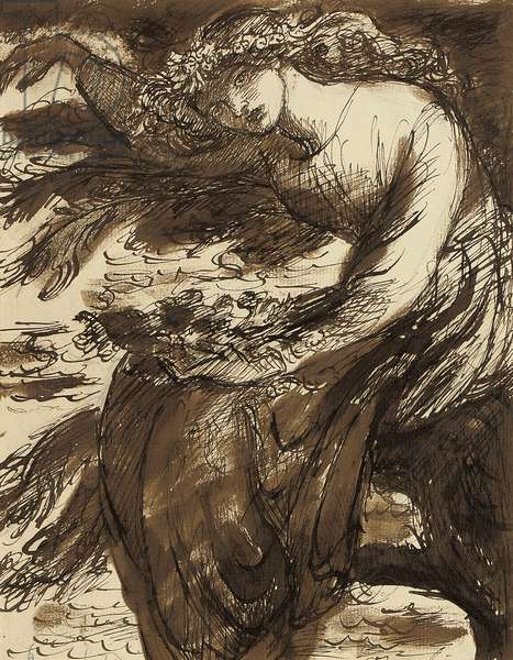 Ophelia,  (pencil, pen and black ink and brown wash, on paper)
