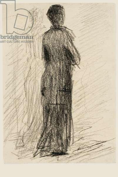 Femme s'éloignant, 1881 (black Conté crayon on paper)