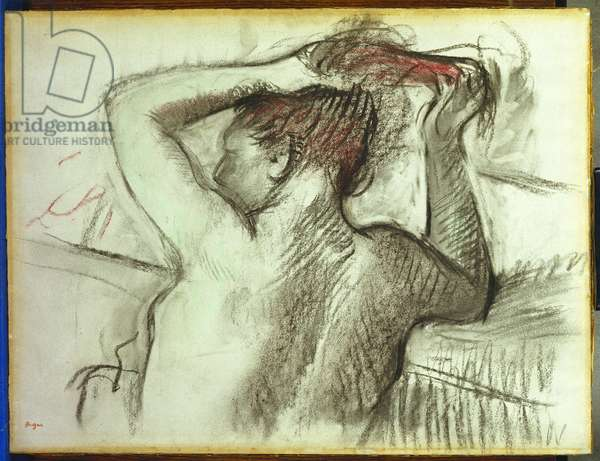 Nude Combing her Hair (charcoal & pastel on paper laid down on board)