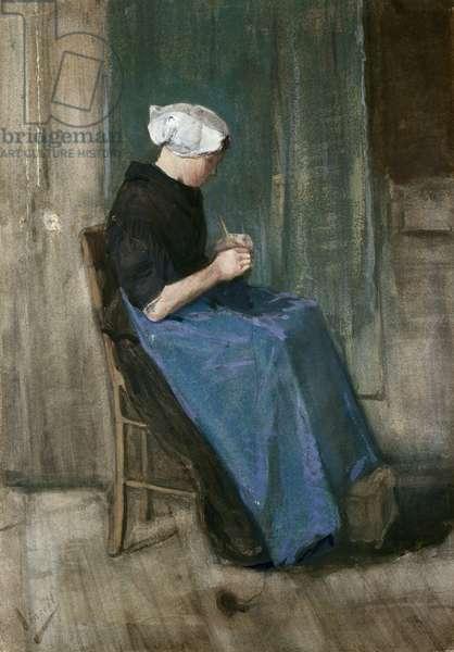 Young Scheveningen Woman Knitting, Facing Right, 1881 (w/c & gouache on paper)
