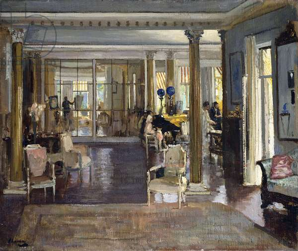 The Drawing Room, Falconhead, 1917 (oil on canvas laid on board)