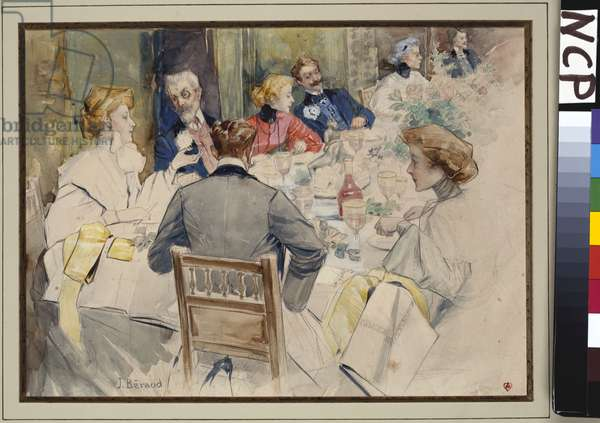 An Elegant Dinner Party (pencil & w/c heightened with white on paper)