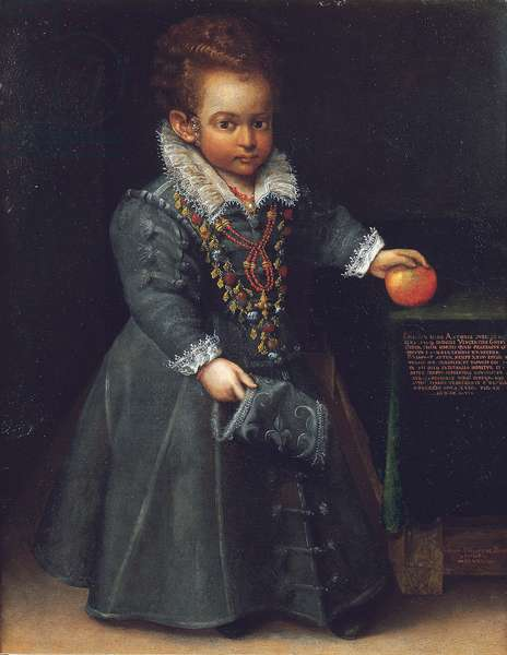 Portrait of Antonia Ghini as a child, full length, in a gray embroidered dress, with her left hand on an apple, on a draped table (oil on canvas)