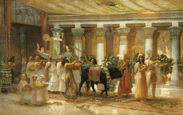 The Procession of the Sacred Bull, Apis, c.1879 (oil on canvas)