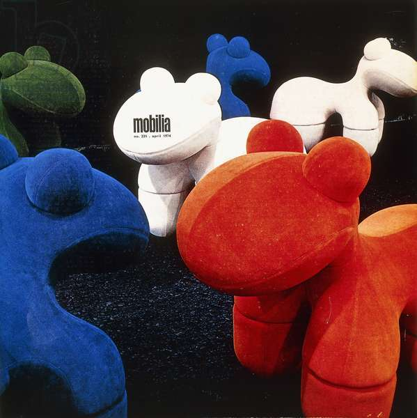 Cover of the Danish design magazine 'Mobilia', April 1974, featuring a 'Pony' chair, c.1970 (polyurethane foam upholstered in blue velour on metal feet)