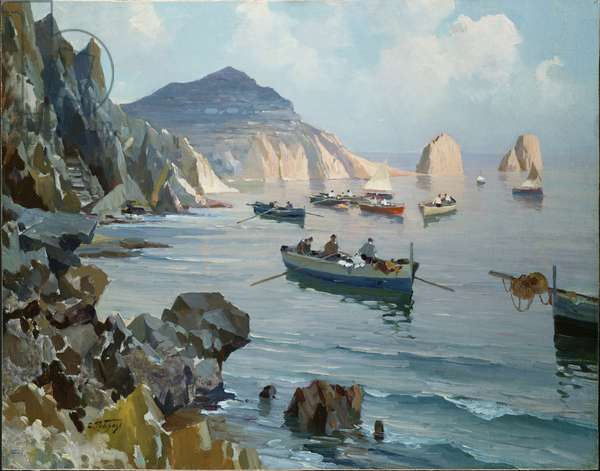 Boats in a Rocky Cove (oil on canvas laid down on masonite)