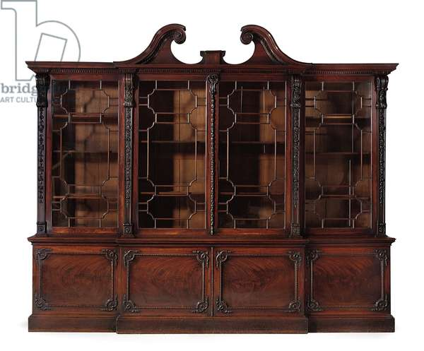 A George III breakfront bookcase, 1764 (mahogany & glass)