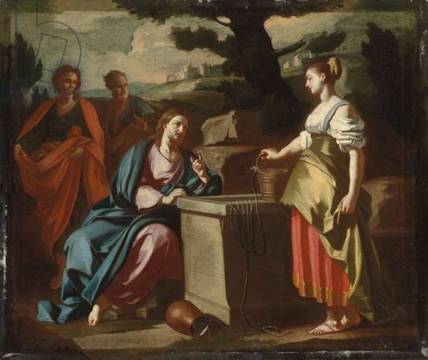 Christ and the Woman of Samaria at the Well (oil on canvas)