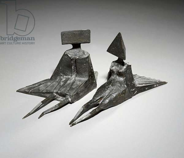 Two Reclining Figures,  (bronze with black patina)