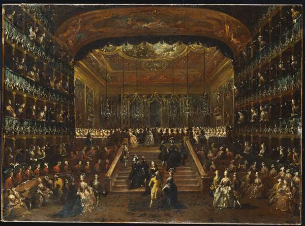 The Dinner and Ball in the Teatro San Benedetto Venice, in Honour of the Conti Del Nord, 22nd January 1782 (oil on canvas)