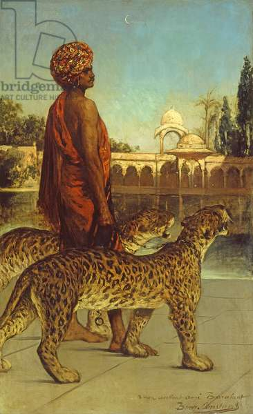 The Palace Guard with Two Leopards (oil on canvas)