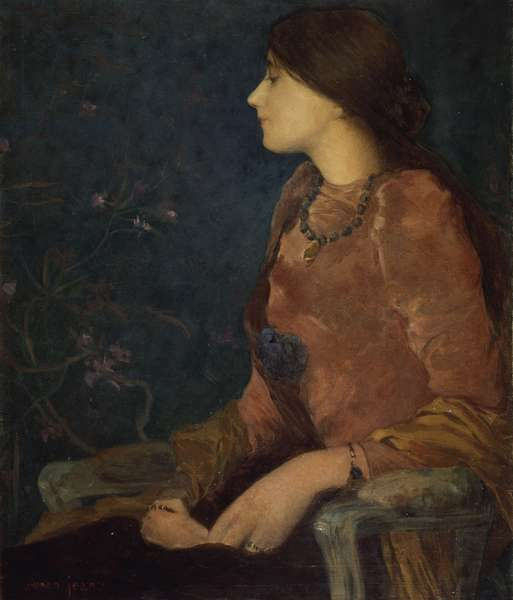 Pensive Lady, Seated (oil on canvas)