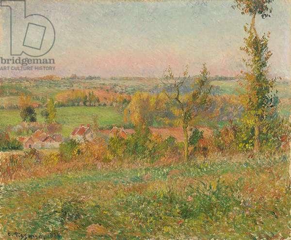 The Hills of Thierceville Seen from the Country Lane, Vicinity of Eragny; Les coteaux de Thierceville vus de la cavee, environs d'Eragny, 1884 (oil on canvas)