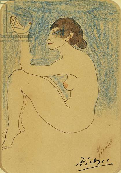 Woman with Raised Left Arm; Femme au bras Gauche Leve, 1902 (coloured wax crayons and pen and brown ink on board)