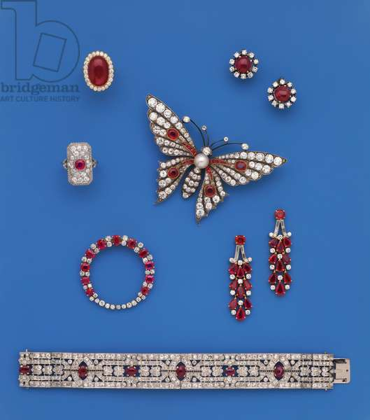 A selection of ruby and diamond jewellery (ruby, diamond)