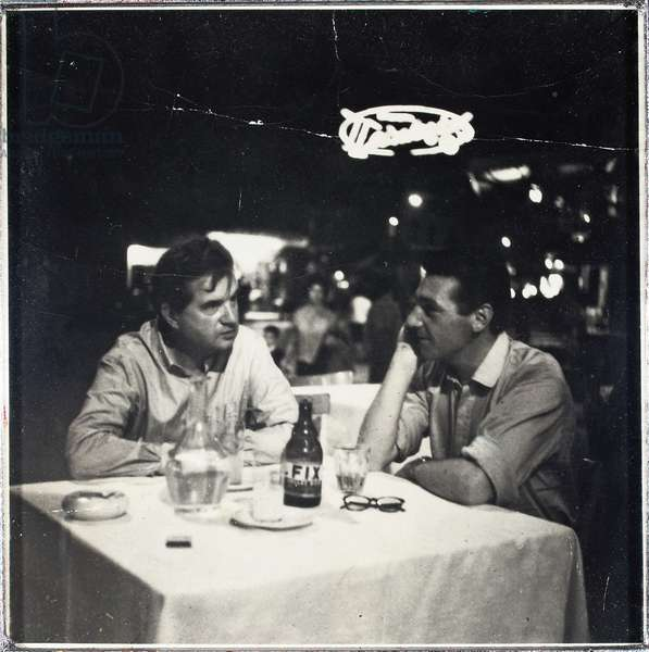Francis Bacon and George Dyer on the Orient Express to Athens, 1965 (gelatin silver print)