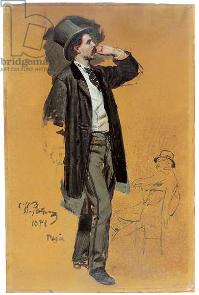 A Study for 'A Parisian Cafe' (1875): Gentleman Standing and Jean-Leon Gerome (1824-1904), 1874 (w/c & oil on paper)