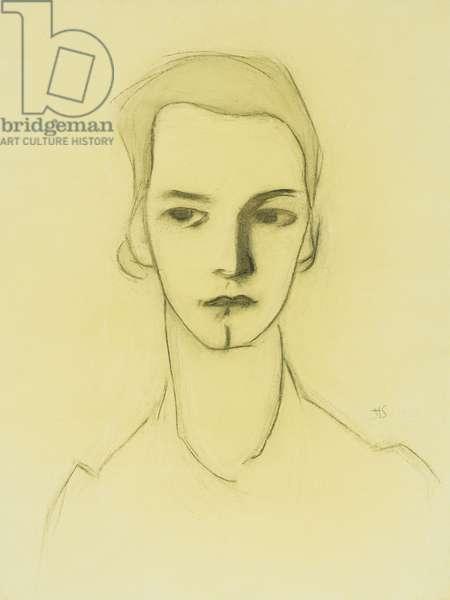 Portrait of a Woman, (pencil, charcoal, grey wash)