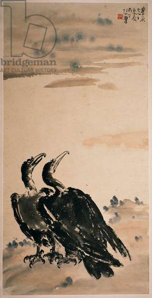 Two Cormorants (hanging scroll and colour on paper)