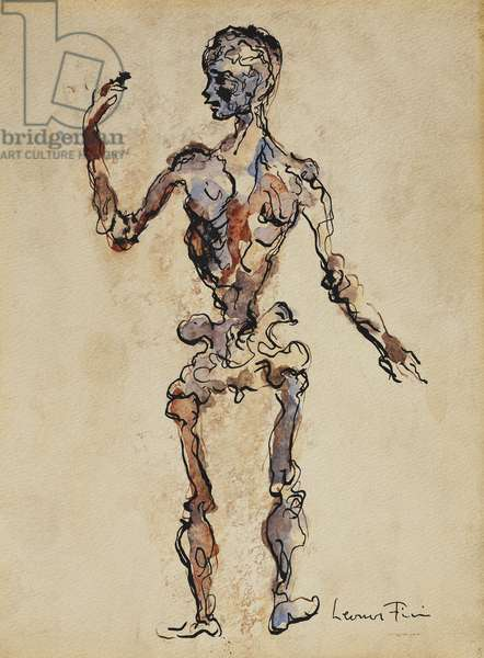Character; Personnage, (pen and ink and watercolour on paper)