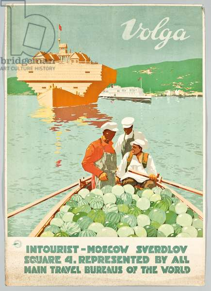 Poster for the Russian travel agency 'Intourist' advertising Volga, 1932 (colour lithograph)