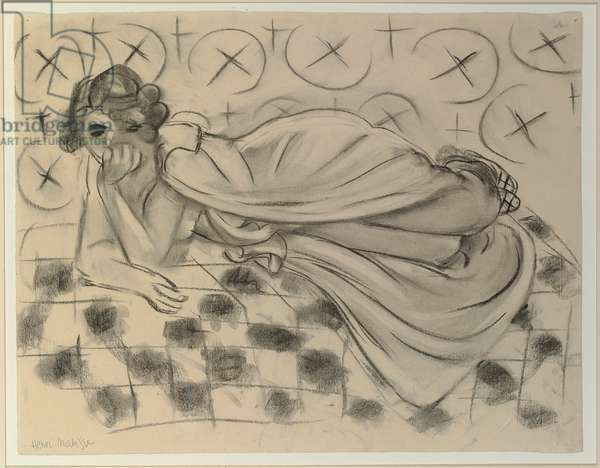 Draped Figure Lying on a Black Checkered Sofa; Figure drapee allongee sur un sofa a carreaux noirs, 1929 (charcoal and estompe on paper)