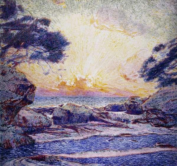 Cote Scene; Sunset; Scene de Cote; Coucher de Soleil, (oil on canvas)