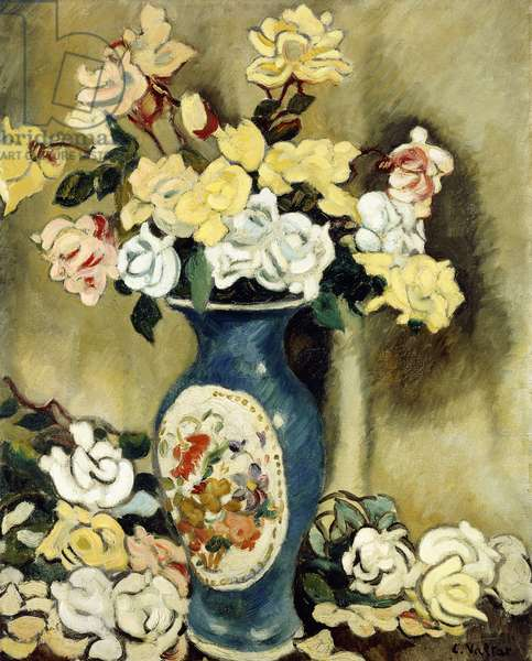 Bouquet of Red Roses in a Blue Vase, c.1920 (oil on canvas)