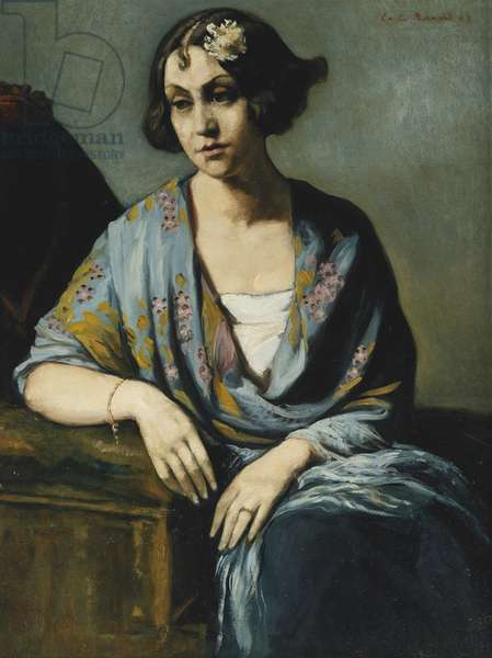 Portrait of a Young Woman Leaning on Her Elbow; Portrait de Jeune Fille Accoudee, 1928 (oil on board)