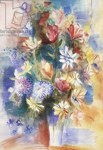 Large Vase of Flowers; Grand Vase de Fleurs,  (watercolour on paper)