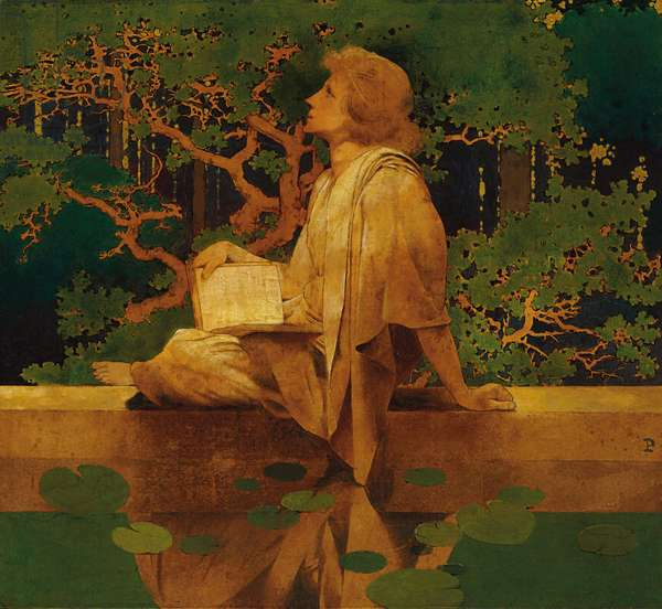 Youth by Reflecting Pool, 1899 (oil on paper laid down on board)
