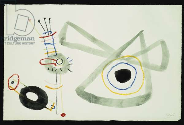 Grotesques figues, study for 'The Childhood of Ubu', c.1953 (oil, pastel & grey ink wash on paper)
