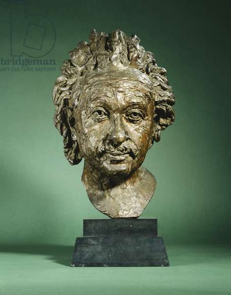 Portrait of Albert Einstein, (bronze with a brown patina)
