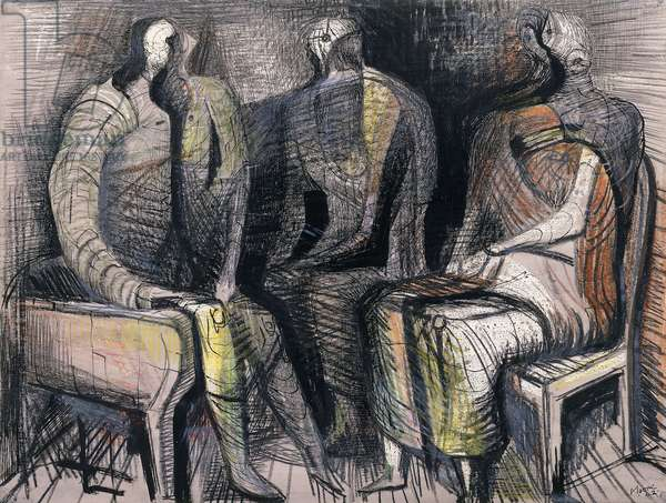 Three Seated Figures, 1942 (watercolour, bodycolour, pen, brush and black ink, coloured chal)