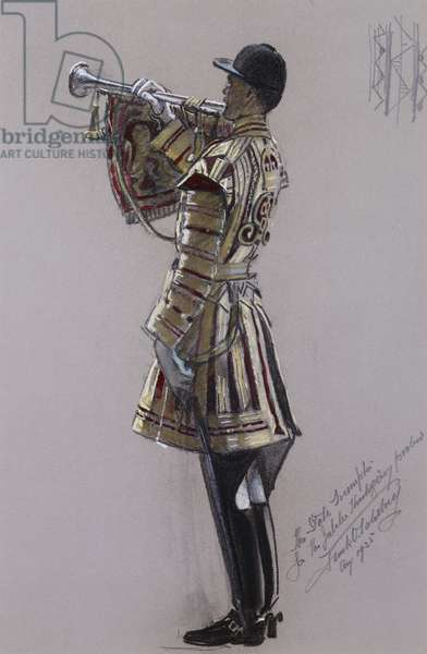 Portrait of the State Trumpeter, standing full length in ceremonial dress with a trumpet, 1935 (charcoal, coloured chalk and watercolour on grey paper)