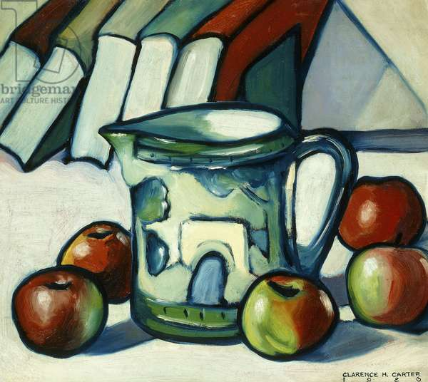 Still Life With Apples, Books and Pitcher, 1926 (oil on board laid down on panel)