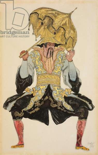 The Chinese Mandarin, costume design for 'Sleeping Beauty', 1921 (pencil, w/c & gouache)