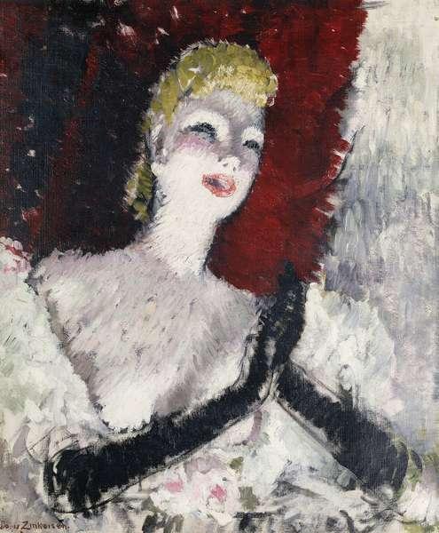 La Chanteuse, (oil on canvas)