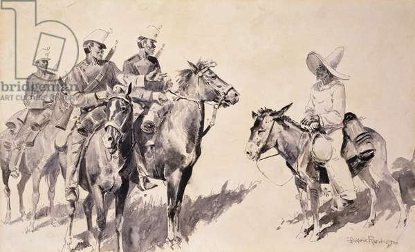 Mexican Gendarmes asking the Way, 1890 (pen and brush and black ink on paper laid on board)