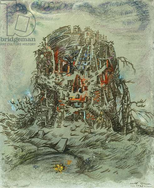 Ville Cranienne, 1938 (gouache, pastel and sand on canvas)