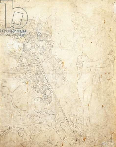 Roger et Angelique,  (pencil on calque laid down on wove paper)