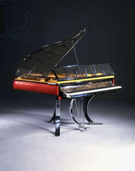 A 'Mira Flygel' piano, 1931 (chromed steel, wood, perspex, red leather)