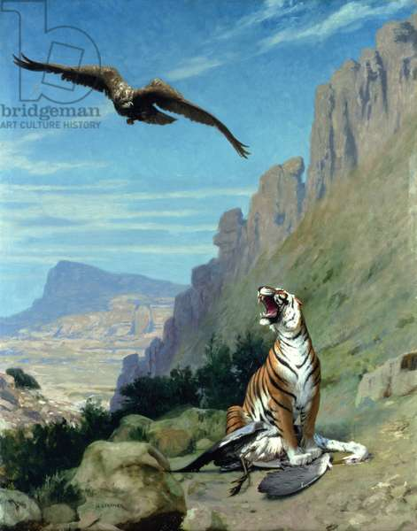 Tiger and Vulture (oil on canvas)