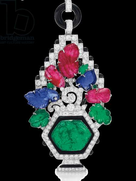 Art Deco sautoir, 1927 (diamonds, emeralds, rubies, sapphires, enamel, onyx & platinum)