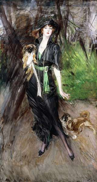 Portrait of a Lady, Lina Bilitis, with two Pekineses, 1913 (oil on canvas)