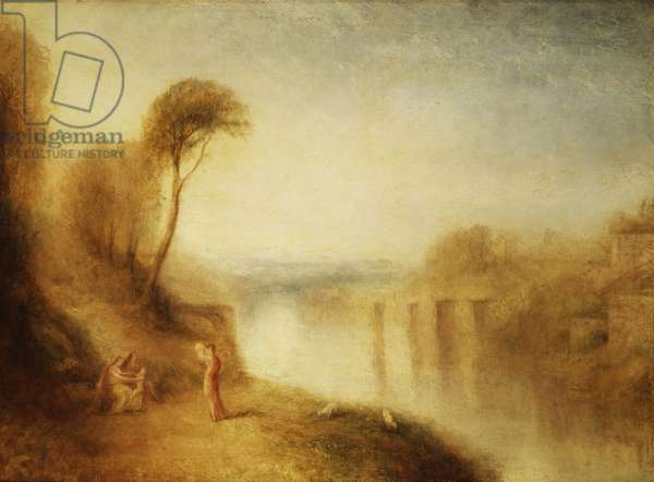 Landscape: Woman with Tamborine, c.1840-50 (oil on canvas)