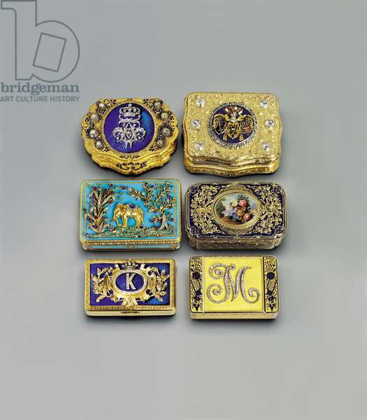 Collection of snuff boxes (enamel & silver-gilt)