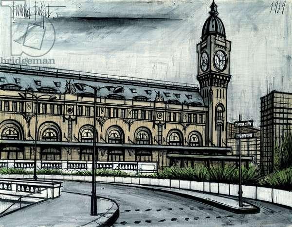 Lyon Train Station and the Clock; La gare de Lyon et l'horloge, 1989 (oil on canvas)