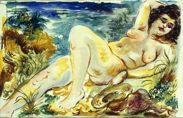 Reclining Nude, 1938 (watercolour on paper)